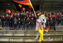 20 February 2016; Ardscoil Ris supporters and their mascot before the game. Dr. Harty Cup Final, Ardscoil Ris v Our Ladys Templemore, McDonagh Park, Nenagh, Co. Tipperary. Picture credit: Sam Barnes / SPORTSFILE