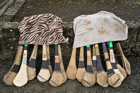 20 February 2016; Towels are used to keep Hurley handles dry before the game. Dr. Harty Cup Final, Ardscoil Ris v Our Ladys Templemore, McDonagh Park, Nenagh, Co. Tipperary. Picture credit: Sam Barnes / SPORTSFILE