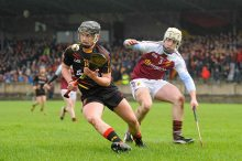 20 February 2016; David Fitzgerald, Ardscoil Ris, in action against Diarmaid Ryan, Our Ladys Templemore. Dr. Harty Cup Final, Ardscoil Ris v Our Ladys Templemore, McDonagh Park, Nenagh, Co. Tipperary. Picture credit: Sam Barnes / SPORTSFILE