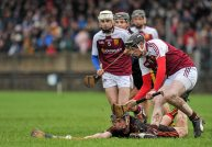 20 February 2016; David Fitzgerald, Ardscoil Ris, in action against Kevin Hassett, Our Ladys Templemore. Dr. Harty Cup Final, Ardscoil Ris v Our Ladys Templemore, McDonagh Park, Nenagh, Co. Tipperary. Picture credit: Sam Barnes / SPORTSFILE