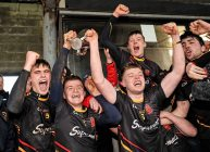 20 February 2016; Joint captains, Peter Casey, left, and Nathan Fox, Ardscoil Ris, lift the Dr. Harty Cup. Dr. Harty Cup Final, Ardscoil Ris v Our Ladys Templemore, McDonagh Park, Nenagh, Co. Tipperary. Picture credit: Sam Barnes / SPORTSFILE