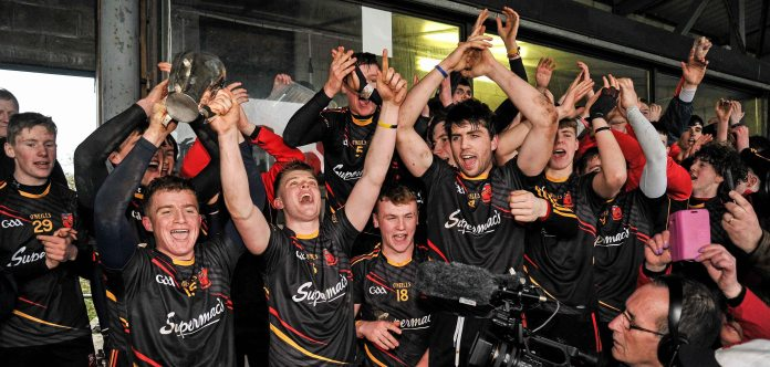 20 February 2016; The Ardscoil Ris team celebrate with the Dr. Harty Cup. Dr. Harty Cup Final, Ardscoil Ris v Our Ladys Templemore, McDonagh Park, Nenagh, Co. Tipperary. Picture credit: Sam Barnes / SPORTSFILE