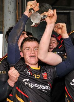20 February 2016; Peter Casey, Ardscoil Ris, celebrates with the Dr. Harty Cup. Dr. Harty Cup Final, Ardscoil Ris v Our Ladys Templemore, McDonagh Park, Nenagh, Co. Tipperary. Picture credit: Sam Barnes / SPORTSFILE
