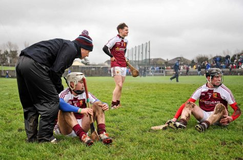 20 February 2016; Our Ladys Templemore players, from left, Tom Murphy, Conor O'Meara and Kevin Hassett, dejected at the final whistle. Dr. Harty Cup Final, Ardscoil Ris v Our Ladys Templemore, McDonagh Park, Nenagh, Co. Tipperary. Picture credit: Sam Barnes / SPORTSFILE