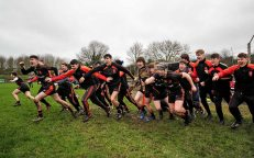 20 February 2016; Ardscoil Ris substitutes celebrate at the final whistle. Dr. Harty Cup Final, Ardscoil Ris v Our Ladys Templemore, McDonagh Park, Nenagh, Co. Tipperary. Picture credit: Sam Barnes / SPORTSFILE