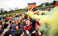 20 February 2016; Ardscoil Ris players and supporters celebrate after the final whistle. Dr. Harty Cup Final, Ardscoil Ris v Our Ladys Templemore, McDonagh Park, Nenagh, Co. Tipperary. Picture credit: Sam Barnes / SPORTSFILE