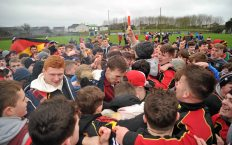 20 February 2016; Ardscoil Ris players and supporters celebrate at the final whistle. Dr. Harty Cup Final, Ardscoil Ris v Our Ladys Templemore, McDonagh Park, Nenagh, Co. Tipperary. Picture credit: Sam Barnes / SPORTSFILE