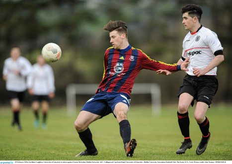 25 February 2016; Garbhan Coughlan, University of Limerick, in action against Ciaran McGahon, Dublin University AFC. Collingwood Cup Semi-Final, University of Limerick v Dublin University Association Football Club. The Farm, UCC, Cork. Picture credit: Eóin Noonan / SPORTSFILE