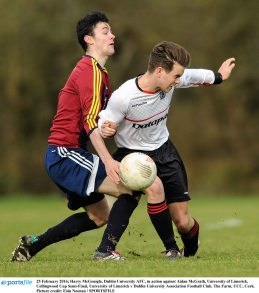 25 February 2016; Harry McGonigle, Dublin University AFC, in action against Aidan McGrath, University of Limerick. Collingwood Cup Semi-Final, University of Limerick v Dublin University Association Football Club. The Farm, UCC, Cork. Picture credit: Eóin Noonan / SPORTSFILE