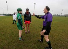 REPRO FREE***PRESS RELEASE NO REPRODUCTION FEE*** Irish Daily Star National League Round 1 Group 2, Mick Neville Park, Rathkeale, Co. Limerick 21/2/2016 Limerick vs Cork Limerick's Lorraine McCarthy and Orla Cotter of Cork with referee John Dolan at the coin toss Mandatory Credit ©INPHO/Ryan Byrne