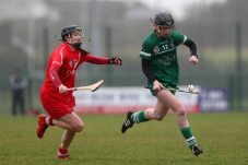 REPRO FREE***PRESS RELEASE NO REPRODUCTION FEE*** Irish Daily Star National League Round 1 Group 2, Mick Neville Park, Rathkeale, Co. Limerick 21/2/2016 Limerick vs Cork Limerick's Niamh Mulcahy and Pam Mackey of Cork Mandatory Credit ©INPHO/Ryan Byrne