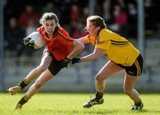 7 March 2016; Anna-Rose Kennedy, John The Baptist CS, Limerick, in action against Emma Flanagan, Holy Rosary College Mountbellew, Galway. Lidl All Ireland Senior B Post Primary Schools Championship Final. Holy Rosary College Mountbellew, Galway, v John The Baptist CS, Limerick. Gort GAA, Gort, Co. Galway. Picture credit: Piaras Ó Mídheach / SPORTSFILE *** NO REPRODUCTION FEE ***