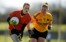 7 March 2016; Niamh Holland, John The Baptist CS, Limerick, in action against Sarah Keaveney, Holy Rosary College Mountbellew, Galway. Lidl All Ireland Senior B Post Primary Schools Championship Final. Holy Rosary College Mountbellew, Galway, v John The Baptist CS, Limerick. Gort GAA, Gort, Co. Galway. Picture credit: Piaras Ó Mídheach / SPORTSFILE *** NO REPRODUCTION FEE ***