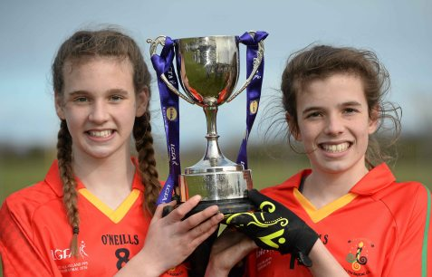 7 March 2016; Sisters Caitl'n Kennedy, left, and Anna-Rose Kennedy, John The Baptist CS, Limerick, celebrate with the cup after the game. Lidl All Ireland Senior B Post Primary Schools Championship Final. Holy Rosary College Mountbellew, Galway, v John The Baptist CS, Limerick. Gort GAA, Gort, Co. Galway. Picture credit: Piaras î M'dheach / SPORTSFILE *** NO REPRODUCTION FEE ***