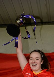 7 March 2016; John The Baptist CS captain Eimear Daly lifts the cup after the game. Lidl All Ireland Senior B Post Primary Schools Championship Final. Holy Rosary College Mountbellew, Galway, v John The Baptist CS, Limerick. Gort GAA, Gort, Co. Galway. Picture credit: Piaras î M'dheach / SPORTSFILE