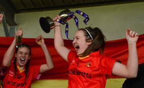 7 March 2016; John The Baptist CS captain Eimear Daly celebrates with the cup after the game. Lidl All Ireland Senior B Post Primary Schools Championship Final. Holy Rosary College Mountbellew, Galway, v John The Baptist CS, Limerick. Gort GAA, Gort, Co. Galway. Picture credit: Piaras Ó Mídheach / SPORTSFILE *** NO REPRODUCTION FEE ***