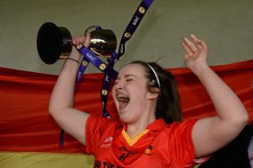 7 March 2016; John The Baptist CS captain Eimear Daly celebrates with the cup after the game. Lidl All Ireland Senior B Post Primary Schools Championship Final. Holy Rosary College Mountbellew, Galway, v John The Baptist CS, Limerick. Gort GAA, Gort, Co. Galway. Picture credit: Piaras î M'dheach / SPORTSFILE