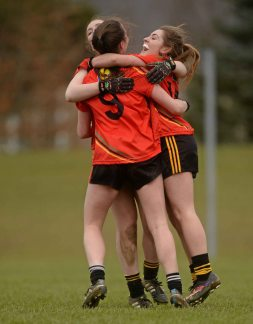 7 March 2016; John The Baptist CS, Limerick, players, from left, Gr‡inne Condon, Eimear Daly and Gr‡inne Ryan celebrate after the game. Lidl All Ireland Senior B Post Primary Schools Championship Final. Holy Rosary College Mountbellew, Galway, v John The Baptist CS, Limerick. Gort GAA, Gort, Co. Galway. Picture credit: Piaras î M'dheach / SPORTSFILE