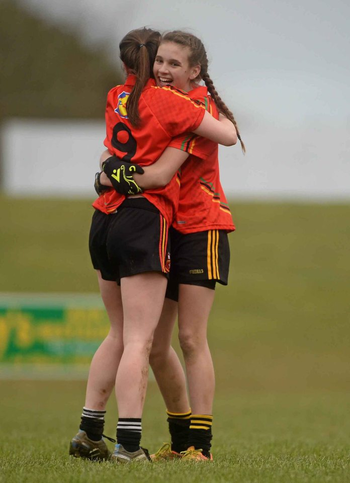7 March 2016; John The Baptist CS's Caitl'n Kennedy, right, and Gr‡inne Ryan celebrate after the game. Lidl All Ireland Senior B Post Primary Schools Championship Final. Holy Rosary College Mountbellew, Galway, v John The Baptist CS, Limerick. Gort GAA, Gort, Co. Galway. Picture credit: Piaras î M'dheach / SPORTSFILE