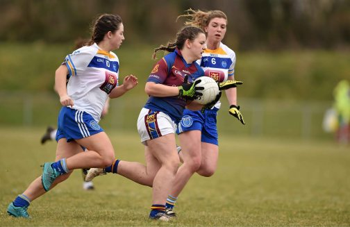 12 March 2016; Eva O'Dea, University of Limerick, in action against Meaghan Dunne, left, and Niamh McGettigan, Dublin Institute of Technology. Lynch Cup Final 2016, University of Limerick v Dublin Institute of Technology. John Mitchels GAA Club, Tralee, Co. Kerry. Picture credit: Brendan Moran / SPORTSFILE