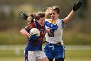 12 March 2016; Aoife Keane, University of Limerick, in action against Caitriona Murphy, Dublin Institute of Technology. Lynch Cup Final 2016, University of Limerick v Dublin Institute of Technology. John Mitchels GAA Club, Tralee, Co. Kerry. Picture credit: Brendan Moran / SPORTSFILE