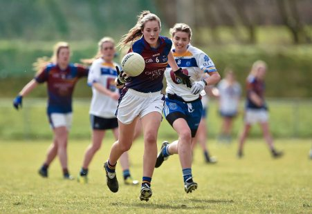 12 March 2016; Clodagh McGrath, University of Limerick, in action against Caitriona Murphy, Dublin Institute of Technology. Lynch Cup Final 2016, University of Limerick v Dublin Institute of Technology. John Mitchels GAA Club, Tralee, Co. Kerry. Picture credit: Brendan Moran / SPORTSFILE