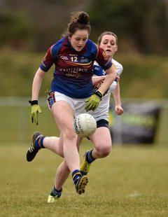 12 March 2016; Emma Needham, University of Limerick, in action against Ellie O'Neill, Dublin Institute of Technology. Lynch Cup Final 2016, University of Limerick v Dublin Institute of Technology. John Mitchels GAA Club, Tralee, Co. Kerry. Picture credit: Brendan Moran / SPORTSFILE