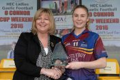 12 March 2016; Laura Rodgers, University of Limerick, is presented with the Player of the Match by Marie Hickey, President, Ladies Gaelic Football Association. Lynch Cup Final 2016, University of Limerick v Dublin Institute of Technology. John Mitchels GAA Club, Tralee, Co. Kerry. Picture credit: Brendan Moran / SPORTSFILE