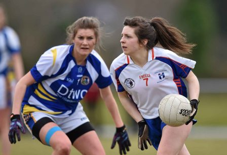 12 March 2016; Leann Walsh, Mary Immaculate College Limerick, in action against Grace Kelly, St Patrick's College. Giles Cup Final 2016, St Patrick's College, Drumcondra v Mary Immaculate College, Limerick. John Mitchels GAA Club, Tralee, Co. Kerry. Picture credit: Brendan Moran / SPORTSFILE
