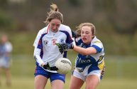 12 March 2016; Roisin Tobin, Mary Immaculate College Limerick, in action against Siofra Cleary, St Patrick's College. Giles Cup Final 2016, St Patrick's College, Drumcondra, v Mary Immaculate College, Limerick. John Mitchels GAA Club, Tralee, Co. Kerry. Picture credit: Brendan Moran / SPORTSFILE