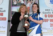 12 March 2016; St Patrick's College captain Shauna Ennis is presented with the Giles Cup by Marie Hickey, President, Ladies Gaelic Football Association, after the game. Giles Cup Final 2016, St Patrick's College, Drumcondra, v Mary Immaculate College, Limerick. John Mitchels GAA Club, Tralee, Co. Kerry. Picture credit: Brendan Moran / SPORTSFILE
