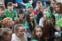 16 March 2016; Pictured during a Q&A session with Parteen NS students are Republic of Ireland senior womenÕs team player Claire OÕRiordan, playing with Wexford Youths FC, from Newcastlewest Co. Limerick, along with U19's players Aislinn Meaney and Chloe Moloney both playing with Galway WFC, from Co. Clare, and Parteen NS teacher Patrick Hickey who plays with the Ireland Amputee Team. The Republic of Ireland players delivered over Û1,000 worth of sports equipment to Parteen National School, Co. Clare, courtesy of Continental Tyres, proud supporters of womenÕs soccer in Ireland. The school won a recent Today FM radio competition and the pupils received the new sports equipment and a special Continental Tyres training session at their school with the Irish womenÕs soccer players. Parteen National School, Parteen, Co. Clare. Picture credit: Diarmuid Greene / SPORTSFILE