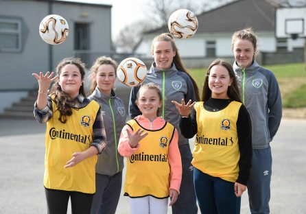 16 March 2016; Parteen NS girls 6th class students Ellen Walters, Sophie Cribben, and Lorna Tucker, after a coaching session with Republic of Ireland senior womenÕs team player Claire OÕRiordan, playing with Wexford Youths FC, from Newcastlewest Co. Limerick, centre, and U19's players Aislinn Meaney, left, and Chloe Moloney both playing with Galway WFC, from Co. Clare. The Republic of Ireland players delivered over Û1,000 worth of sports equipment to Parteen National School, Co. Clare, courtesy of Continental Tyres, proud supporters of womenÕs soccer in Ireland. The school won a recent Today FM radio competition and the pupils received the new sports equipment and a special Continental Tyres training session at their school with the Irish womenÕs soccer players. Parteen National School, Parteen, Co. Clare. Picture credit: Diarmuid Greene / SPORTSFILE