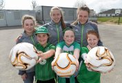16 March 2016; Parteen NS girls 5th class students Aisling Cooney, Lauren Fahy, and Lauren O'Driscoll, after a coaching session with Republic of Ireland senior womenÕs team player Claire OÕRiordan, playing with Wexford Youths FC, from Newcastlewest Co. Limerick, centre, and U19's players Aislinn Meaney, left, and Chloe Moloney both playing with Galway WFC, from Co. Clare. The Republic of Ireland players delivered over Û1,000 worth of sports equipment to Parteen National School, Co. Clare, courtesy of Continental Tyres, proud supporters of womenÕs soccer in Ireland. The school won a recent Today FM radio competition and the pupils received the new sports equipment and a special Continental Tyres training session at their school with the Irish womenÕs soccer players. Parteen National School, Parteen, Co. Clare. Picture credit: Diarmuid Greene / SPORTSFILE