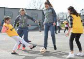 16 March 2016; Parteen NS girls 6th class students Sophie Cribben, left, and Ellen Walters during a coaching session with Republic of Ireland senior womenÕs team player Claire OÕRiordan, playing with Wexford Youths FC, from Newcastlewest Co. Limerick, left, and U19's player Chloe Moloney, playing with Galway WFC, from Co. Clare. The Republic of Ireland players delivered over Û1,000 worth of sports equipment to Parteen National School, Co. Clare, courtesy of Continental Tyres, proud supporters of womenÕs soccer in Ireland. The school won a recent Today FM radio competition and the pupils received the new sports equipment and a special Continental Tyres training session at their school with the Irish womenÕs soccer players. Parteen National School, Parteen, Co. Clare. Picture credit: Diarmuid Greene / SPORTSFILE
