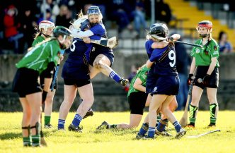 REPRO FREE***PRESS RELEASE NO REPRODUCTION FEE*** Camogie Senior Schools B Final, MacDonagh Park, Nenagh, Co. Tipperary 5/3/2016 St Joseph's, Lucan vs Scoil na Trionoide Naofa, Doon Scoil Na Trionoide Naofa's Roseanna O'Donnell, Katie Hayes, Grainne Regan and Anna Ryan celebrate at the final whistle Mandatory Credit ©INPHO/James Crombie