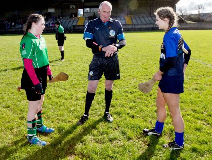 REPRO FREE***PRESS RELEASE NO REPRODUCTION FEE*** Camogie Senior Schools B Final, MacDonagh Park, Nenagh, Co. Tipperary 5/3/2016 St Joseph's, Lucan vs Scoil na Trionoide Naofa, Doon Referee John McDonagh with St. Joseph's College captain Emma O'Flynn and Scoil Na Trionoide Naofa captain Karen Fox Mandatory Credit ©INPHO/James Crombie
