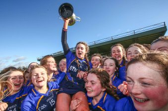REPRO FREE***PRESS RELEASE NO REPRODUCTION FEE*** Camogie Senior Schools B Final, MacDonagh Park, Nenagh, Co. Tipperary 5/3/2016 St Joseph's, Lucan vs Scoil na Trionoide Naofa, Doon Scoil Na Trionoide Naofa captain Karen Fox celebrate after the game Mandatory Credit ©INPHO/James Crombie