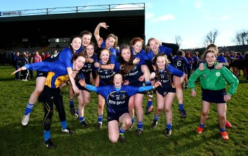 REPRO FREE***PRESS RELEASE NO REPRODUCTION FEE*** Camogie Senior Schools B Final, MacDonagh Park, Nenagh, Co. Tipperary 5/3/2016 St Joseph's, Lucan vs Scoil na Trionoide Naofa, Doon Scoil Na Trionoide Naofa players celebrate after the game Mandatory Credit ©INPHO/James Crombie