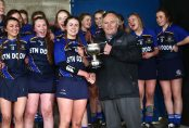 REPRO FREE***PRESS RELEASE NO REPRODUCTION FEE*** Camogie Senior Schools B Final, MacDonagh Park, Nenagh, Co. Tipperary 5/3/2016 St Joseph's, Lucan vs Scoil na Trionoide Naofa, Doon Scoil Na Trionoide Naofa's captain Karen Fox is presented with the trophy Mandatory Credit ©INPHO/James Crombie