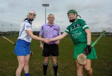 REPRO FREE***PRESS RELEASE NO REPRODUCTION FEE*** Irish Daily Star National League Division 1, Carriganore, Waterford 13/3/2016 Waterford vs Limerick Team captains Charlotte Raher of Waterford and Limerick's Lorraine McCarthy with referee Cathal Egan Mandatory Credit ©INPHO/Tommy Grealy