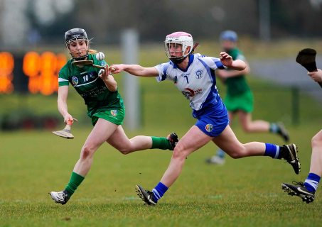 REPRO FREE***PRESS RELEASE NO REPRODUCTION FEE*** Irish Daily Star National League Division 1, Carriganore, Waterford 13/3/2016 Waterford vs Limerick Waterford's Charlotte Raher with Siobhan Enright of Limerick Mandatory Credit ©INPHO/Tommy Grealy