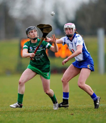 REPRO FREE***PRESS RELEASE NO REPRODUCTION FEE*** Irish Daily Star National League Division 1, Carriganore, Waterford 13/3/2016 Waterford vs Limerick LimerickÕs Siobhan Enright with Charlotte Raher of Waterford Mandatory Credit ©INPHO/Tommy Grealy