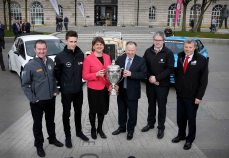 Picture credit © Matt Mackey - Presseye.com Belfast - Northern Ireland - 3rd March 2016 ** NO PICTURE FEE** First Minister, Arlene Foster, is pictured at the launch of the 2016 Circuit of Ireland Rally with Event Director Bobby Willis and driver's Former British Champion Neil Simpson, FIA ERC Junior driver Chris Ingram along with local men Brendan Cumisky and Fintan McGrady. Celebrating its 85th year, the Circuit of Ireland Rally has grown to become a global event, attracting competitors and spectators from across the world. It takes place from 7th Ð 9th April in County Antrim, County Down and Belfast.