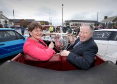 Picture credit © Matt Mackey - Presseye.com Belfast - Northern Ireland - 3rd March 2016 ** NO PICTURE FEE** First Minister, Arlene Foster, is pictured at the launch of the 2016 Circuit of Ireland Rally with Event Director Bobby Willis. Celebrating its 85th year, the Circuit of Ireland Rally has grown to become a global event, attracting competitors and spectators from across the world. It takes place from 7th Ð 9th April in County Antrim, County Down and Belfast.