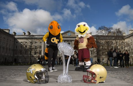 31 March 2016; Georgia Tech mascot Buzz, left, and Boston College mascot Baldwin at the unveiling of Trinity College Dublin as the Welcome Village for this September's Aer Lingus College Football Classic in the Aviva Stadium between Boston College and Georgia Tech. Tickets, from €35 go on general sale next Wednesday, April 6th at 9.00am via Ticketmaster. Trinity College, Dublin. Picture credit: Brendan Moran / SPORTSFILE *** NO REPRODUCTION FEE ***
