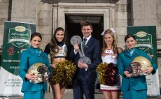 31 March 2016; At the unveiling of Trinity College Dublin as the Welcome Village for this September's Aer Lingus College Football Classic in the Aviva Stadium between Boston College and Georgia Tech are, from left, Carol O'Reilly, Aer Lingus, Georga Tech cheerleader Jackie Carroll, Keith Butler, Chief Commercial Officer, Aer Lingus, Boston College cheerleader Elizabeth Pehota and Danielle Coughlan, Aer Lingus. Tickets, from €35 go on general sale next Wednesday, April 6th at 9.00am via Ticketmaster. Trinity College, Dublin. Picture credit: Brendan Moran / SPORTSFILE *** NO REPRODUCTION FEE ***