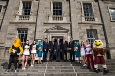 31 March 2016; At the unveiling of Trinity College Dublin as the Welcome Village for this September's Aer Lingus College Football Classic in the Aviva Stadium between Boston College and Georgia Tech are, from left, Georgia Tech mascot Buzz, Georga Tech cheerleaders Sarah Kate Somers and Jackie Carroll, Carol O'Reilly, Aer Lingus, Keith Butler, Chief Commercial Officer, Aer Lingus, Padraic O'Kane, Game promoter, Kevin O'Malley, US Ambassador to Ireland, Adrian Neilan, Commercial Director, Trinity College, Warren Zola, Executive Director of the Boston College Chief Executives Club, Danielle Coughlan, Aer Lingus, Boston College cheerleaders Elizabeth Pehota and Matthew Keemon and Boston College mascot Baldwin. Tickets, from €35 go on general sale next Wednesday, April 6th at 9.00am via Ticketmaster. Trinity College, Dublin. Picture credit: Brendan Moran / SPORTSFILE *** NO REPRODUCTION FEE ***