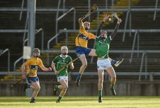 6 April 2016; Conor Boylan, Limerick, in action against Keith White, Clare. Electric Ireland Munster GAA Hurling Minor Championship, Quarter-Final, Limerick v Clare. Gaelic Grounds, Limerick. Picture credit: Diarmuid Greene / SPORTSFILE
