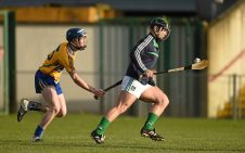 6 April 2016; Limerick goalkeeper Mark O'Kelly in action against Ian Murray, Clare. Electric Ireland Munster GAA Hurling Minor Championship, Quarter-Final, Limerick v Clare. Gaelic Grounds, Limerick. Picture credit: Diarmuid Greene / SPORTSFILE
